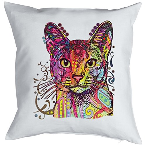 Abyssinian Cat Chats Gatti Gatos Coussin, Pop Art Style