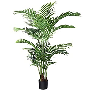 Silk Flower Arrangements Fopamtri Artificial Areca Palm Plant 5 Feet Fake Palm Tree with 17 Trunks Faux Tree for Indoor Outdoor Modern Decoration Feaux Dypsis Lutescens Plants in Pot for Home Office Perfect Housewarming Gift