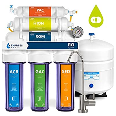 Express Water Deionization Reverse Osmosis Filtration System – 6 Stage RO DI Filter with Faucet and Tank – 100 GPD with Clear Housing and Pressure Gauge – Distilled Pure – Under Sink Home Softener