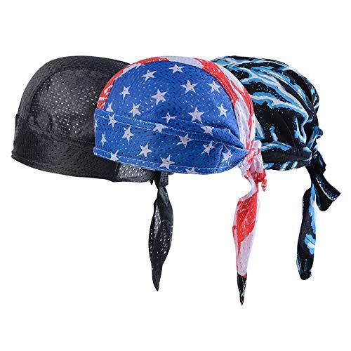 Vertvie 3 Stück Kopftuch Atmungsaktiv Sports Bandana Cap Bikertuch Bandanas Hat Radfahren Mütze Herren Damen (One Size, Schwarz + Flaggenprint + Blitzdruck)