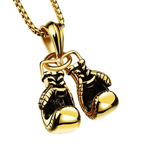 PAURO Herren 316l Edelstahl Boxhandschuh Charm Anhänger Halskette Gold