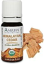 Amrita Aromatherapy Organic Cedar, Himalayan Essential Oil, 100% Pure Undiluted Cedrus deodara, Therapeutic Grade, Premium...