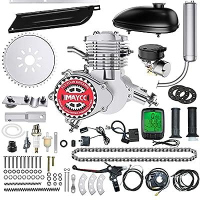 "IMAYCC 80cc Bicycle Engine Kit 2-Stroke Electric Motorbike kit Fit for 26"" 28"" Bikes 2-Stroke Petrol Gas Bicycle Motor Kit (Silver)"
