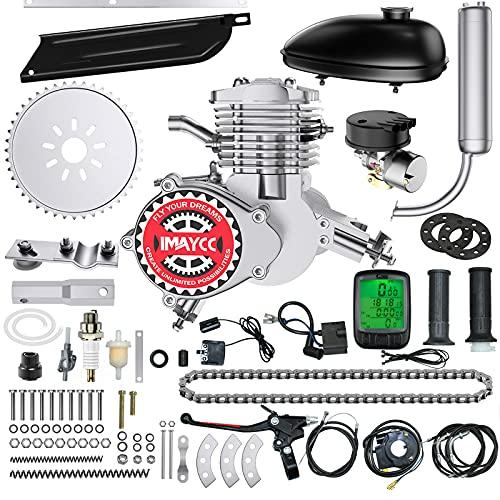 IMAYCC 80cc Bicycle Engine Kit 2-Stroke Motor Bike kit Fit for 26' 28' Bikes 2-Stroke Petrol Gas Bicycle Motor Kit (Silver)