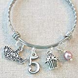 5th BIRTHDAY BRACELET, 5th Birthday Charm Bracelet, 5 Year Old Daughter Birthday Gift Idea, Fifth...