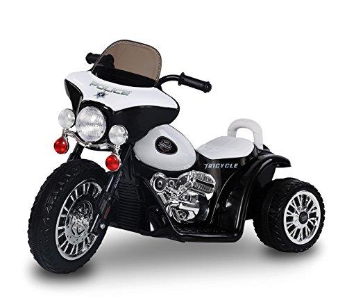 MEDIA WAVE store Moto elettrica Nera LT846 per Bambini Police Tre Ruote 6V Suoni e luci realistici
