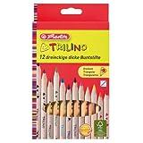 Herlitz 10412062 Trilino Buntstifte 12er 3-kant aus FSC Holz -