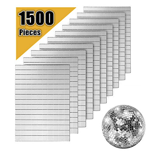 AIVS Self-Adhesive Real Glass Craft Mini Square & Round Mirrors Mosaic Tiles/Stickers for DIY Craft Decoration(10 x 10 mm, 1500 Pieces)