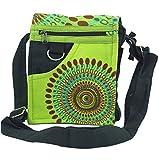 GURU SHOP Kleine Schultertasche, Hippie Tasche, Goa Tasche - Grün, Herren/Damen, Baumwolle, Size:One Size, 18x17x4 cm, Alternative Umhängetasche, Handtasche aus Stoff