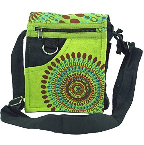 Guru-Shop Kleine Schultertasche, Hippie Tasche, Goa Tasche - Grün, Herren/Damen, Baumwolle, Size:One Size, 18x17x4 cm, Alternative Umhängetasche, Handtasche aus Stoff