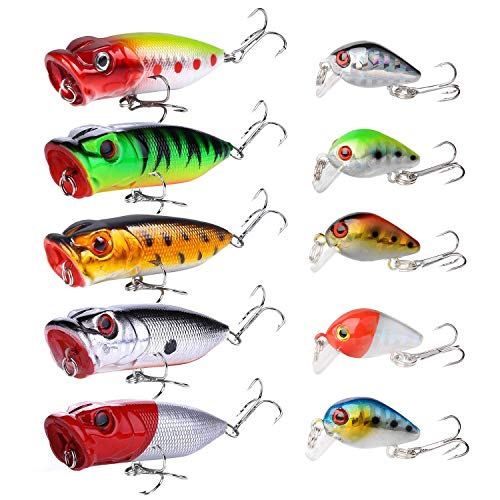 10PCS Topwater Fishing Lures Bass,SundayPro Poppers Fishing Lure Baits,Fishing Crankbait Lures,3D Eyes Lifelike Swimbaits for Freshwater Saltwater Perch Trout (5PCS Popper +5PCS Crankbaits)