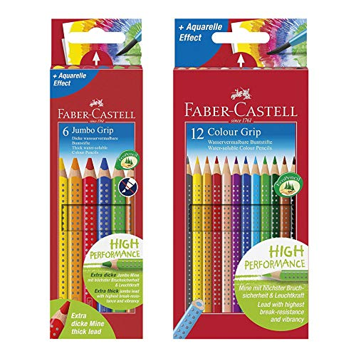 Faber-Castell 110906 - Buntstifte Jumbo Grip, 6er Kartonetui + 12er Colour Grip