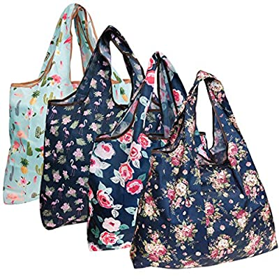 allydrew Large Foldable Tote Nylon Reusable Grocery Bags, 4 Pack, Flamingoes and Flowers
