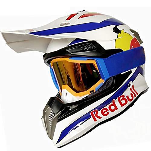 STRTG Casco Integral, Cascos de Motocross Casco de Motocicleta y Bicicleta Carcasa de ABS Certificación Dot Poroso Fresco Liberación rápida Forro extraíble Gafas Regalo a Red Bull A,M