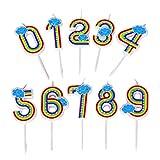Queta - Velas de Cumpleaños Números de 10 Piezas, número 0-9, Velas de cumpleaños, Velas, Decoraciones para Tartas de cumpleaños, celebración de Fiestas, Hermosas Velas de arcoíris con números