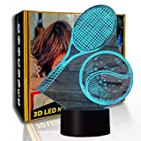 KangYD LED Luz nocturna Playing Tennis, lámpara de ilusión 3D, lámpara de mesa, F- Base de audio Bluetooth (5 colores), Regalo para niño, Lámpara cálida