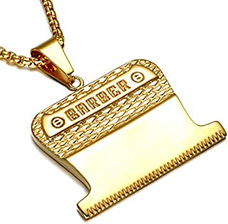 SMITH CHU Fashion Hair Trimming Barber Clipper Pendant - Men Barbershop Barber Turn Light Hip Hop Street Necklace Pendant - Come with Barber Stylist Salon Tools Jewelry Round Box Chain (Gold)