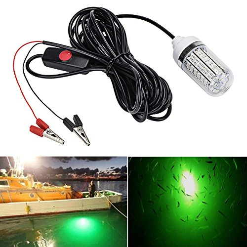 Autai Fishing Light Green Color 12V 15W Deep Drop Underwater Light Fishing Lures Fish Finder Lamp Attracts Fish Prawns Squid Krill