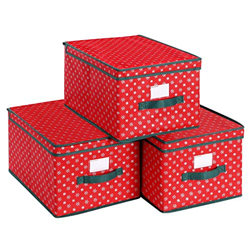 SONGMICS Set of 3 Foldable Storage Boxes with Lid, Christmas Storage Bins with Labels, Holiday Storage Containers with Snowflakes Pattern, Non-Woven Fabric, 11.8 x 15.7 x 9.8 Inches, Red URXFB03G