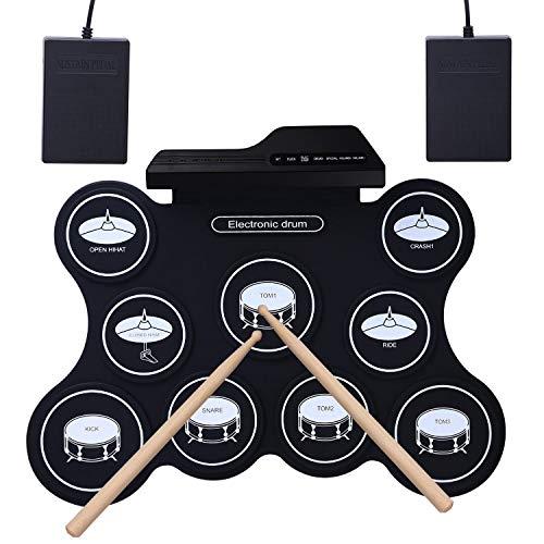 Roll Up E-Drum - Pandero de entrenamiento eléctrico portátil con 9 almohadillas,...