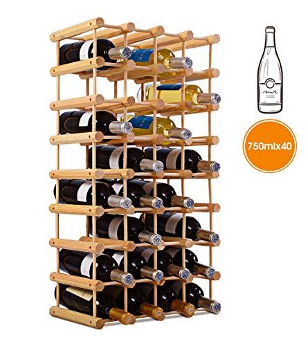 DREAMADE Weinregal Holz, Weinschrank für 40 Flaschen, Flaschenregal erweiterbar, Weinflaschenhalter freistehend, Weinständer Flaschenständer, 102,5 x 33 x 24 cm