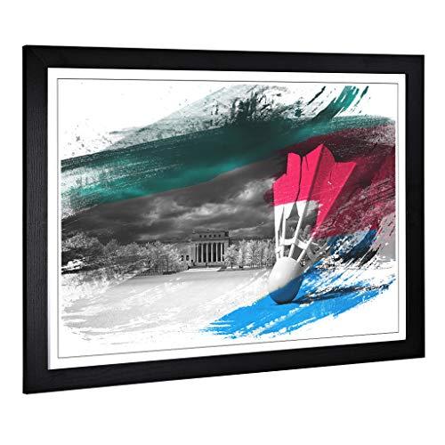 BIG Box Art Gerahmtes Bild mit Federball Badminton V2 Design, groß, Wandbild für Küche, Wohnzimmer, Esszimmer, Schlafzimmer, Flur, A2 / 24,5 x 18 Zoll (62 x 45 cm) Schwarz
