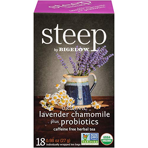 steep Organic Lavender Chamomile w/probiotic Herbal 18 Count Box, Certified Organic, Gluten-Free, Kosher Tea in Foil-Wrapped Bags