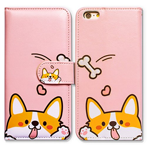 iPod Touch 7 Case,iPod Touch 6 Case,Bcov Cute Yellow Dog Pink Wallet Flip Leather Cover Case with Credit Card ID Card Slot Holder Kickstand for iPod Touch 7/6/5