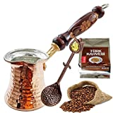 Turkish Coffee Handmade Copper Pot and 100 Gram Classic Turkish Coffee with Teaspoon - Wood Handy - Best Gift Idea