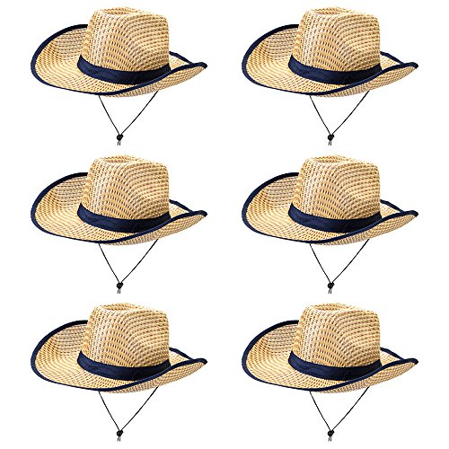 6-Pack Australian Dundee Safari Hats - Bulk Halloween Costume Accessories - Beige Zookeeper Hat - Explorer Outdoor Gear - Dress Up, Theme Party, Roleplay, Cosplay Headwear for Kids