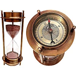 7 Nautical Brass Sand Timer Hourglass with Maritime Brass Compass Table Decorative