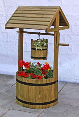 Decorative Wooden Wishing Well Patio Planter