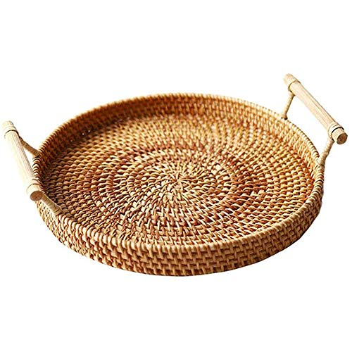 xxz Rattan Round Storage Serving Tray, handmade woven basket With Handle Rugged large capacity, for storing snacks miscellaneous plants flowers