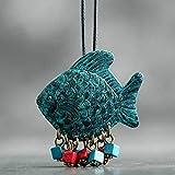 FEELHH Collana Lunga Maglione,Blue Vintage Design Pesce Collana Pendente per Le Donne E Gli Uomini Gioielli retrò in Pelle Regolabili Collana di Corda