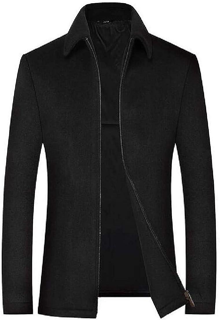Men Wool-Blend Overcoat Winter Casual Business Zip Front Pea Coat