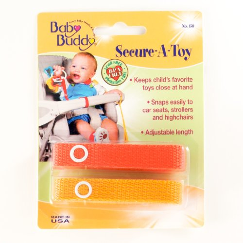 Baby Buddy Secure-A-Toy - Straps Toys, Teether, or Pacifiers to Strollers, Highchairs, Car Seats— Safety Leash With Adjustable Length to Keep Toys Sanitary & Clean, Red/Orange 2 Count