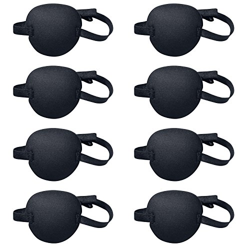 Favourde 8 Pack Black Eye Patch Strabismus Adjustable Eye Patch Eye Mask with Buckle for Adults and Kids (Black)