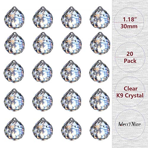 MerryNine Clear Crystal Ball Prism Suncatcher Rainbow Pendants Maker Hanging Crystals Prisms for Windows for Feng Shui for Gift30mm/118quot 20pack