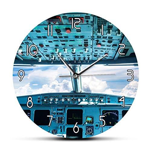 xinxin Reloj de Pared Impresión de la Cabina del avión Arte de la Pared Reloj de Pared Decorativo Interior del avión Vista de la Cabina Interior del avión Piloto de aviación Reloj de Pared