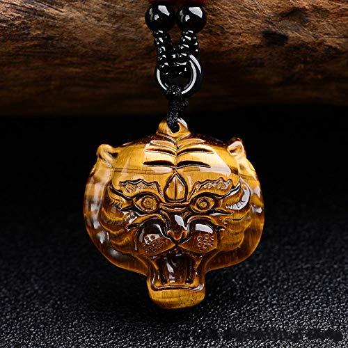 VFJLR Colgante Piedra de Ojo de Tigre Amarillo Cabeza de Tigre Collar de Jade Colgante Cabeza de Tigre Tallada a Mano Piedra Preciosa Amarilla Amuleto de la Suerte para Hombres y Mujeres Amarillo