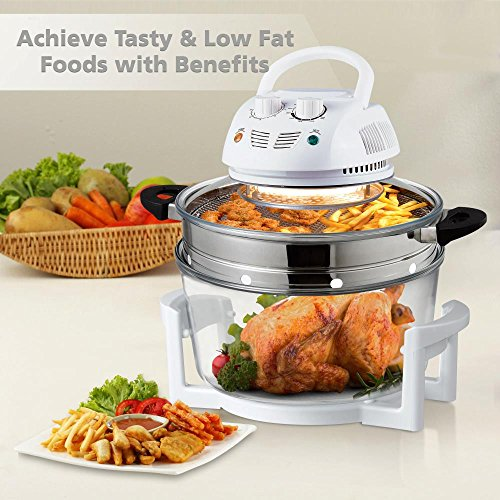 Halogen Oven Countertop Air Fryer - 1200W 13QT Infrared Convection Cooker w/ Stainless Steel Cooking Bowl For Healthy Meals, Great for Chicken, Steak, Fish, Ribs, Shrimp, More - NutriChef AZPKAIRFR48