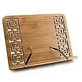 Porte-livre de Cuisine Portable Lutrin Support de Lecture Tablette en Bambou Pupitre de Lecture et d'ecriture avec 5 Degré Réglable Book Holder pour Livre de Recette Bureau Ipad Kindle Encyclopédies