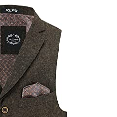 Mens Oak Brown Blue Green Herringbone Tweed Vintage Collar Waistcoat Retro Smart Tailored Fit Vest [Chest UK 46 EU 56,Brown] #2