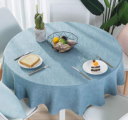 Yiiuii Mantel redondo de algodón y lino estilo nórdico simple restaurante hotel hogar mantel redondo impresión sólido, 180 cm