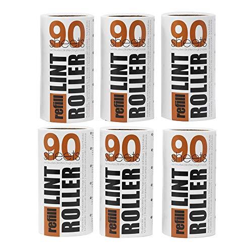 Korbond Pack ahorro de recambios para rodillo quitapelusas: 6 rollos de 90 hojas, recogen pelusas, polvo, pelos y pelo de mascota, para ropa, muebles y alfombras (81 m, 540 hojas en total)