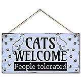 carispibet cats welcome   decorazione per la casa divertente cartello per animali domestici, 15,2 x 30,5 cm