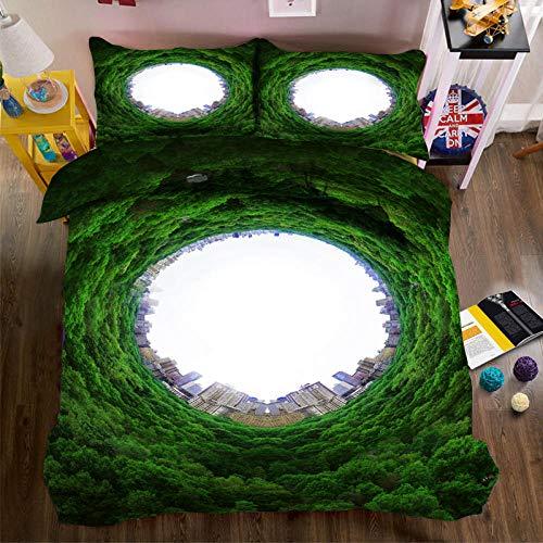 PERFECTPOT Juego De Ropa De Cama 3 Piezas Impresión Digital Bosque Verde Fundas De Edredón Poliéster 1 Funda Nórdica con Cremallera Oculta Y 2 Funda De Almohada 260x240cm