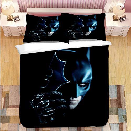 HDBUJ Darts Fledermaus 3D Schwarz Bettbezug, Polyester Bettwäsche Mit Reißverschluss, Mit Zwei Kissenbezügen, Einzelbett (Doppelbett) 135X200Cm
