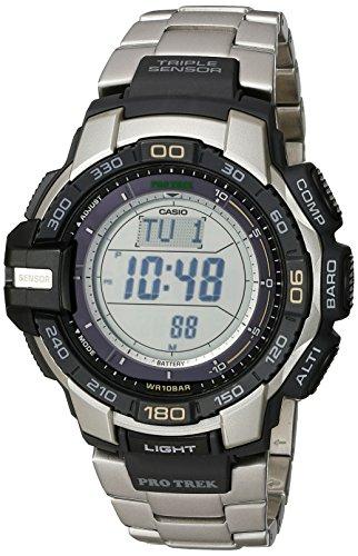 "Casio Men's PRG270D-7CR ""Pro Trek"" Stainless Steel Solar Watch"