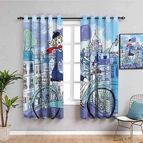LucaSng Cortinas de Opacas - Dibujos animados pintados a mano bicicleta niña - 280x160 cm - para Sala Cuarto Comedor Salon Cocina Habitación - 3D Impresión Digital con Ojales Aislamiento Térmico Corti